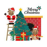 Christmas and new year santa ox greeting card vector