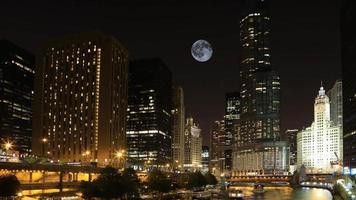 Vollmond über Chicago, Illinois video