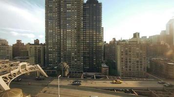 new york city street traffic skyline aerial view