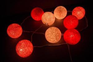 bola de algodón ligera de colores, hilo de luz
