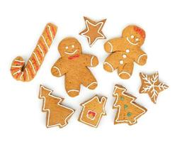 Homemade various christmas gingerbread cookies