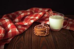 cookies and milk, tree, Christmas  concept, wooden background