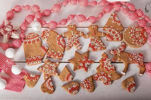 Christmas cookies and handmade retro toys photo