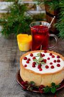 tarta de queso de chocolate blanco con arándanos