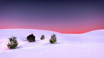 Winter snow landscape with christmas trees and little cabin.