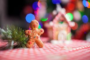 Close-up of gingerbread man background candy ginger house