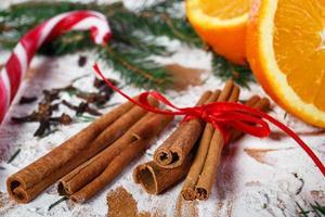 Cinnamon and oranges for Christmas,macro photography