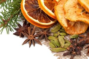 Christmas fruits and spices