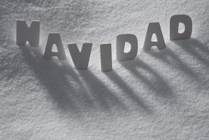 White Word Navidad Means Christmas On Snow, Snowflakes