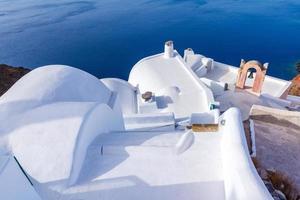 Buildings details in Santorini in Greece photo