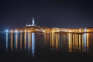 Beautiful Rovinj at night photo