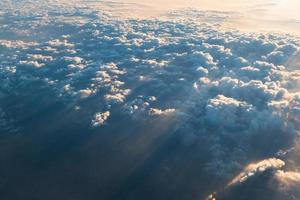 sea of clouds with sunbeam in the morning