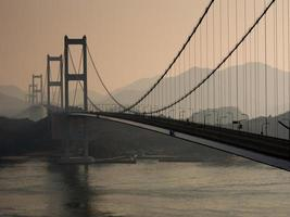 Kurushima-Kaikyo bridge at sunrise photo
