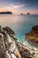Vertical landscape with dark stones on Adriatic Sea, Montenegro