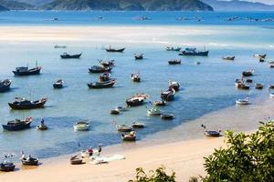 Photo of fishing boats on the sea, Vietnam, Binh Dinh
