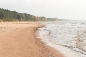 litoral da praia do mar Báltico com rochas e dunas de areia