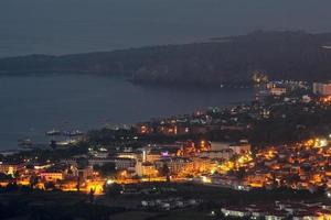 Kemer, Turkey Night view on top of resort village Camyuva.