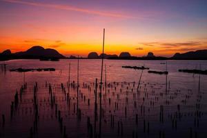 Fishing village and sunrise at Samchong-tai, Phangnga, Thailand
