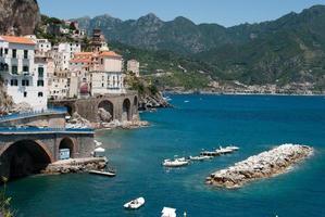 View Atrani village from Amalfi peninsula Italy