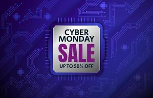 Cyber Monday Background with CPU PCB Aesthetic vector