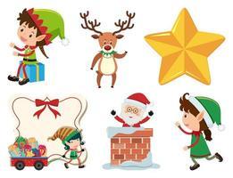 navidad con santa, elfo y reno vector