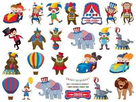 Large set of isolated circus objects vector
