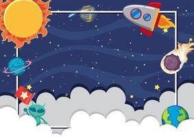 marco de tema espacial para niños vector