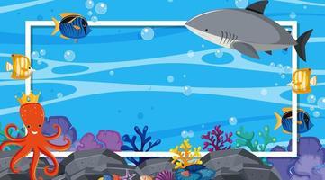Border template with underwater scene vector