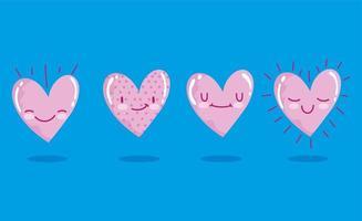 Love romantic hearts cartoon characters vector