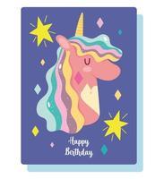 Birthday card with magic unicorn head vector