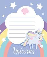 Writing paper with magic unicorn and stars vector