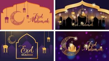 Four background designs for Muslim festival vector