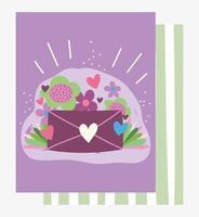 Amor romántico sobre con mensaje y flores.