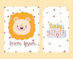 tarjeta de invitación de baby shower y etiqueta con león vector