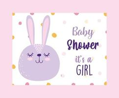 Baby shower gender reveal card with cute rabbit vector