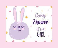 tarjeta de revelación de género para baby shower con lindo conejo
