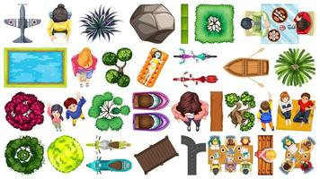 Set of Aerial Element House Decorations Isolated vector