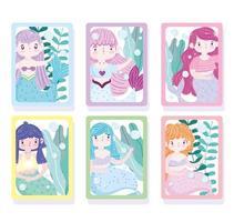 Set of cute little mermaid cartoon cards vector