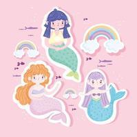Cute little mermaids icon set