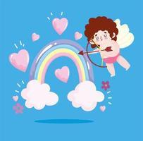 amor cupido con arco, flecha, arco iris y corazones vector