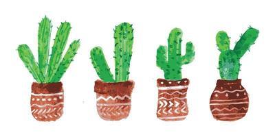 conjunto de cactus de acuarela