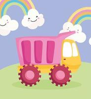 Plastic truck in the grass with rainbows vector