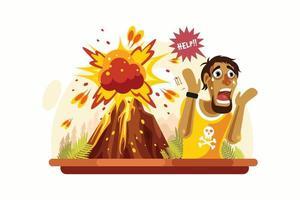 hombre gritando frente al volcán vector