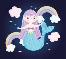 Cute little mermaid with rainbows
