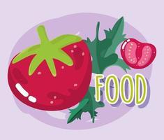 comida vegetal. tomates y hierbas frescas