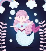 Cute little mermaid in the deep sea vector