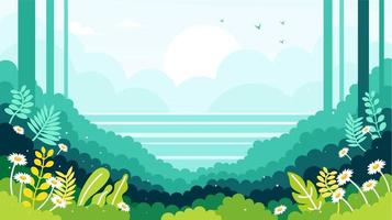 Landscape with grass and flowers vector