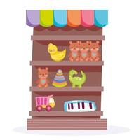 Wood shelf shop with toys object for kids