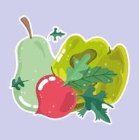 menú de alimentos vegetales. pera, rábano y lechuga