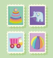 juguetes para niños pequeños de dibujos animados en sellos postales